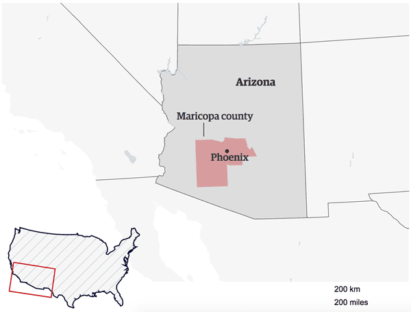 A map of Maricopa county in Arizona.