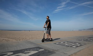 A Bird electric scooter on Santa Monica State Beach, Santa Monica, California on 15th April 2018. Pic © Dan Tuffs FAO Nick Mead - Cities Deputy Editor.