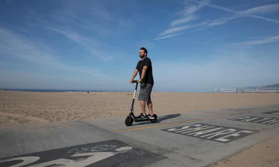 A Bird electric scooter on Santa Monica State Beach, Santa Monica, California on 15th April 2018. Pic © Dan Tuffs FAO Nick Mead - Cities Deputy Editor.