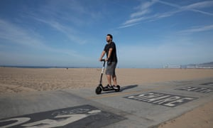 A Bird electric scooter on Santa Monica State Beach, Santa Monica, California on 15th April 2018.