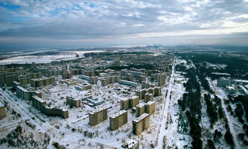 The abandoned streets of Pripyat, former home to Chernobyl workers.