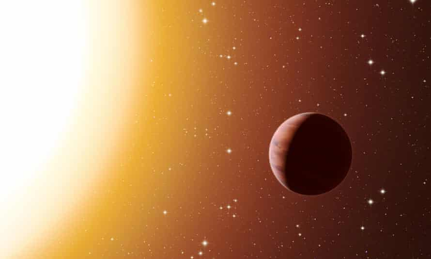 Artist's impression of a hot Jupiter planet orbiting close to one of the stars in the rich old star cluster Messier 67