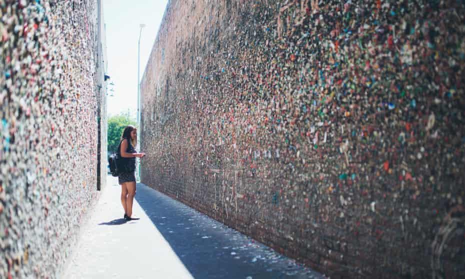 Young Woman Standing In Bubblegum Alley, San Luis Obispo, California.