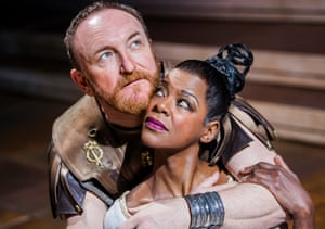 Antony Byrne and Josette Simon in Antony and Cleopatra at the Royal Shakespeare theatre, Stratford-upon-Avon