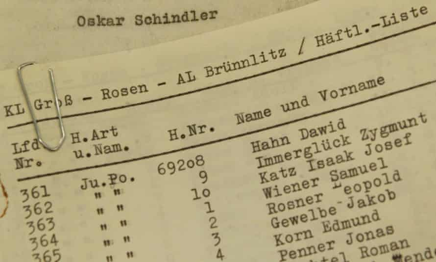 The alleged original list of 1,200 Jewish concentration camp prisoners whom Oskar Schindler employed in his factory.