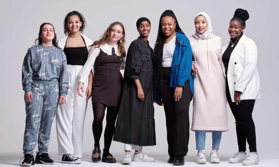 Rocks stars. left to right: Anastasia Dymitrow, Shaneigha-Monik Greyson, Ruby Stokes, Kosar Ali, Bukky Bakray, Tawheda Begum and Afi Okaidja
