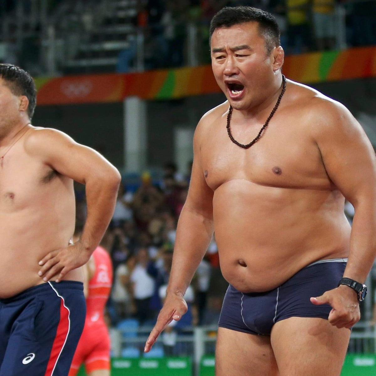 Mongolian wrestling coaches banned for stripping off in bizarre Olympics  protest | Wrestling | The Guardian