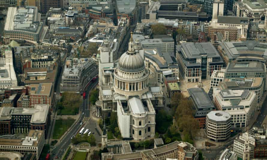 Aerial view of the City of London, where the Commonwealth Bank of Australia's European headquarters have been located until now.
