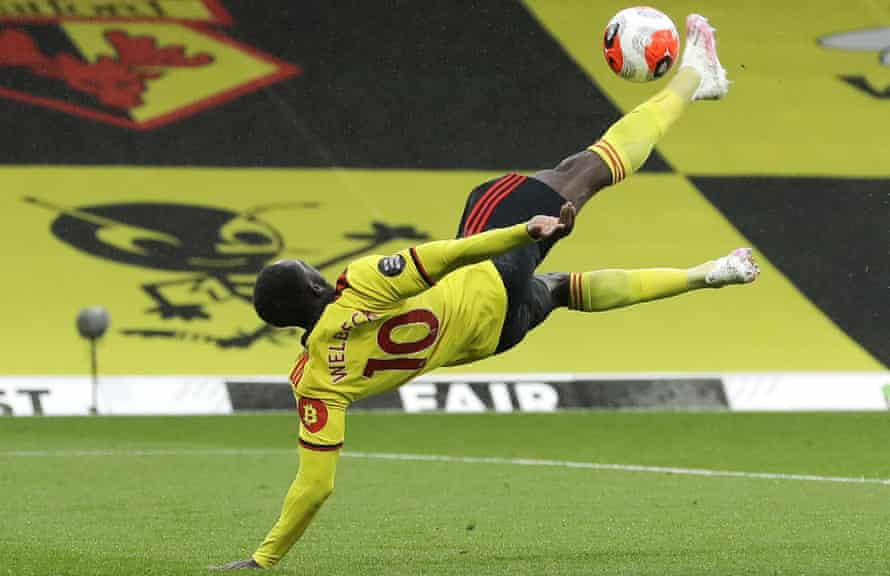 Danny Welbeck puts Watford 2-1 ahead in spectacular style against Norwich at Vicarage Road.