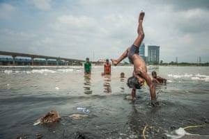 Swimming in the Yamuna river in New Delhi