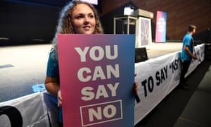 A supporters of no campaign holds a banner at a Coalition for Marriage campaign event in Melbourne