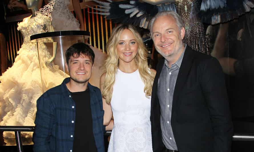 Josh Hutcherson, Jennifer Lawrence and director Francis Lawrence at the Hunger Games exhibition.