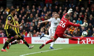 Wolverhampton Wanderers' Diogo Jota scores his side's second goal of the game against Watford at Vicarage Road.