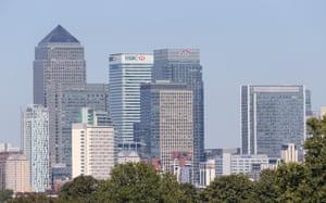 The skyline of Canary Wharf.