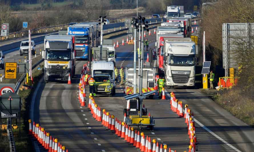 Freight lorries undergoing checks on the M20 motorway