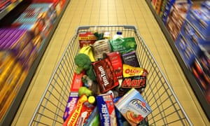 Full shopping cart at an Aldi Stores Ltd. food store in Sydney, Australia, June 25, 2015.