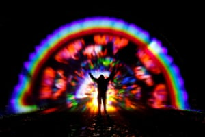 Steyning, England. Benjamin Clegg's Rainbow in the Dark at the Wiston estate in West Sussex