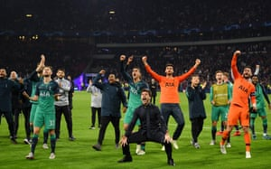 Tottenham celebrate making it to the final against Liverpool.