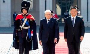 Sergio Mattarella and Xi Jinping.
