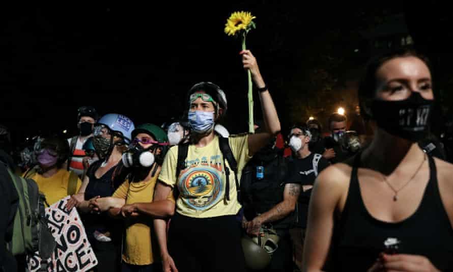 Protests in Portland, Oregon Sunday night.
