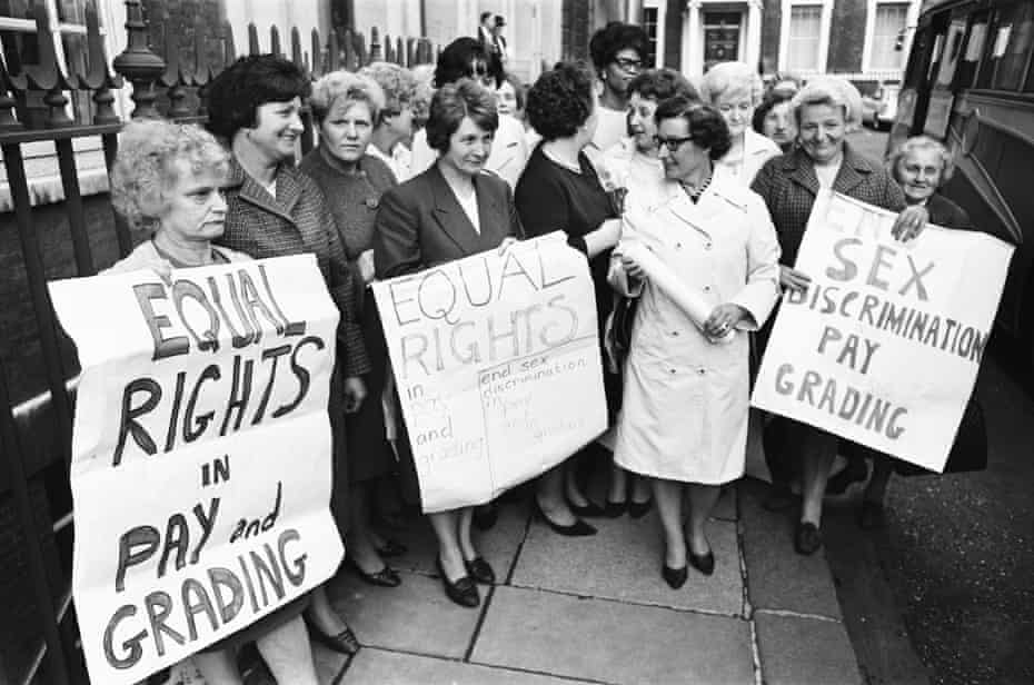 Women striking for equal pay in 1968, two years before the passing of the UK's first Equal Pay Act.