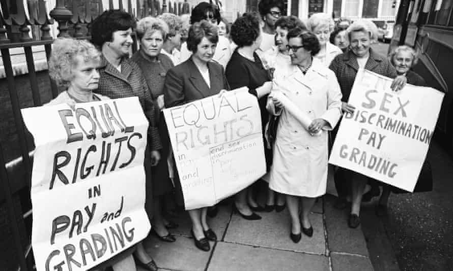 Women sewing machinists from the Ford Motor Company plant in Dagenham taking strike action in June 1968.