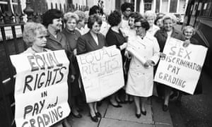 Striking sewing machinists at the Ford Motor company plant in Dagenham, June 1968, the era when a new series of laws came to define social liberalism