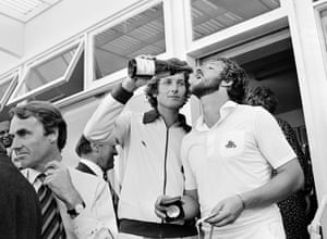 There were more celebrations at the next Test in the series at Edgbaston where England won by 29 runs. Here Bob Willis serves champagne to teammate Ian Botham after he received his man of the match award.