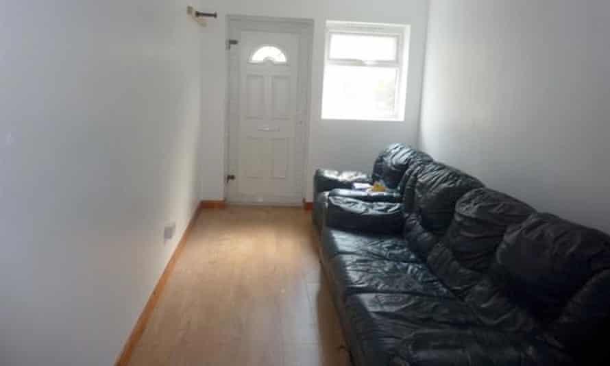 A sofa inside the garage flat