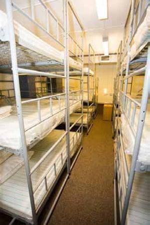 Beds inside the bunker.