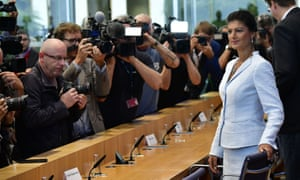 Sahra Wagenknecht arriving for a press conference on Tuesday.