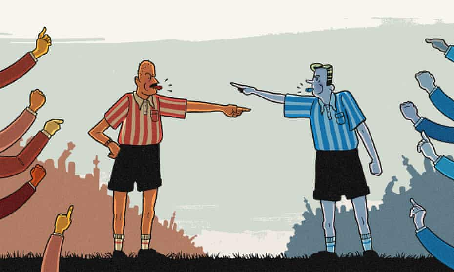 Illustration, of identical referees in different coloured kit berating each other, by R Fresson