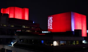 The National Theatre, lit in red on Tuesday night to raise awareness of the crisis facing live events.