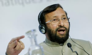 Prakash Javadekar speaks at the Paris climate talks, December 2015.