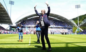 And it's goodbye from him: Arsène Wenger salutes the crowd on his final game in charge of Arsenal at Huddersfield.