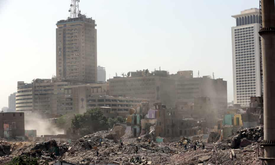 Many of the shops and homes of the Maspero triangle have already been reduced to rubble.