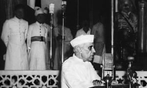 """Jawaharlal Nehru, India's first prime minister, delivering his """"tryst with destiny"""" speech at Parliament House in New Delhi, 15 August 1947."""
