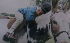 An old photo showing a two-year-old Bryony Frost on her donkey called Nosey at her family home on Dartmoor