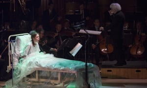 Dramatically incoherent... Audrey Luna as Gepopo, with (right) Sir Simon Rattle in Ligeti's Le Grand Macabre