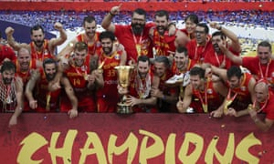 Spain celebrate their second world title after their victory over Argentina