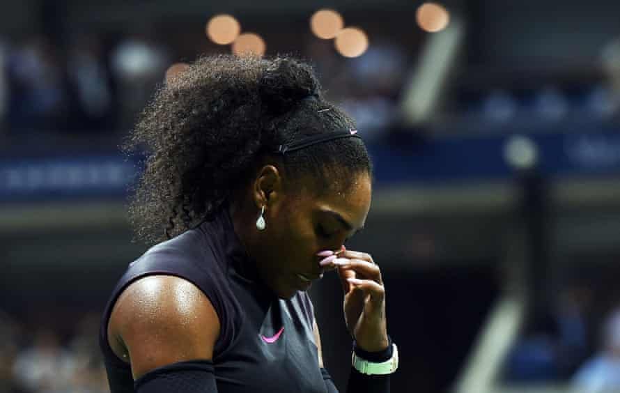 A dejected Serena Williams during her defeat.