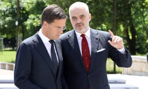 The Albanian prime minister, Edi Rama, right, pictured with his Dutch counterpart, Mark Rutte, describe a lunch with EU leaders as 'very argumentative' and 'a fight'.