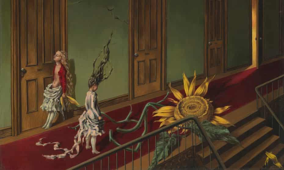 A detail from Tanning's Eine Kleine Nachtmusik.