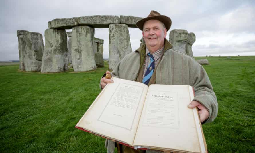 Richard Crook, Amesbury farmer and councillor, the grandson of the second-highest bidder Isaac Crook, with his grandfather's copy of the auction catalogue