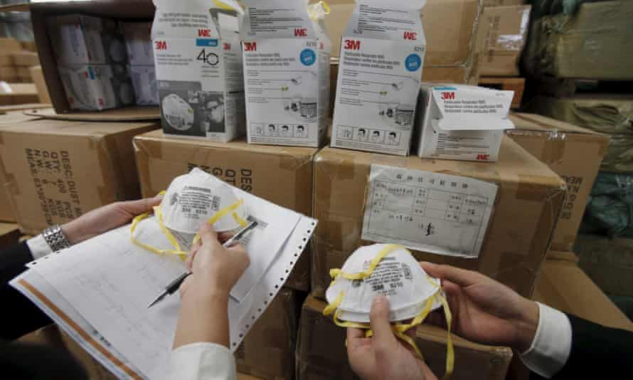 Fake safety masks seized by customs in Shanghai.
