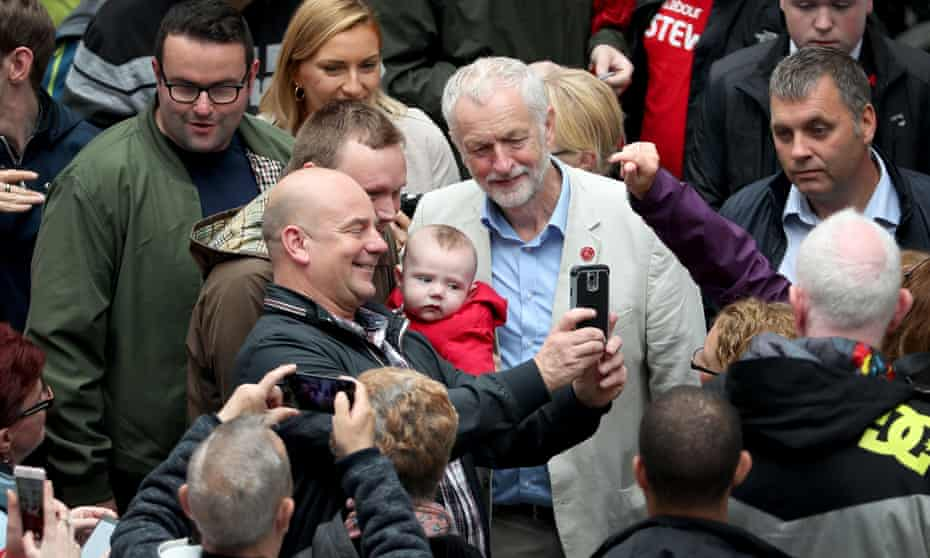 Jeremy Corbyn with Labour voters in Coatbridge, North Lanarkshire, August 2017.