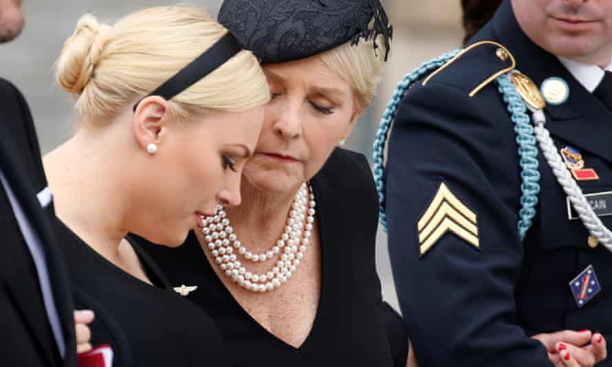 Meghan McCain and Cindy McCain at the National Cathedral in Washington DC Saturday.