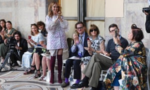 Sitting alongside Celine Dion at the Giambattista Valli autumn/winter 2017 haute couture show. Wintour has been present for many of the big fashion moments in recent history.