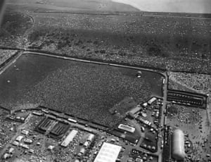 Aerial view of the festival, 28 August 1970