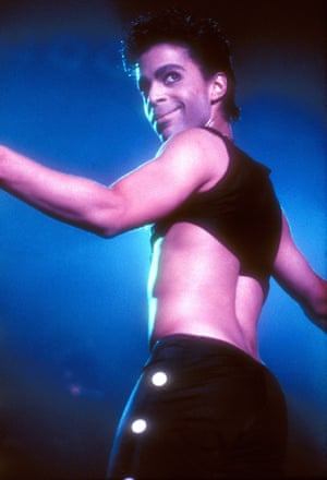 Prince on tour in 1986 in a crop top.